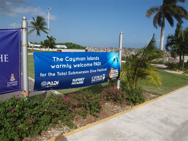 Welcome banner from Cayman Islands Department of Tourism