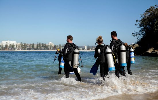scuba divers-shelly beach-sydney- beach-ocean