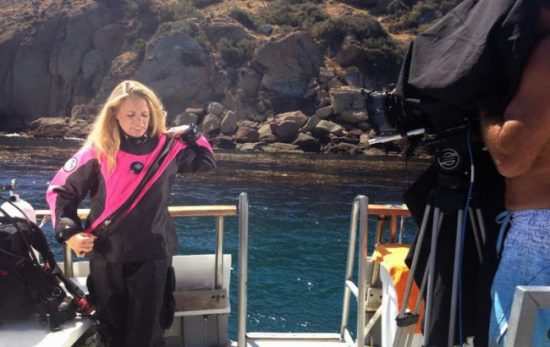 Niccole Sherman PADI behind the scenes dry suit photo