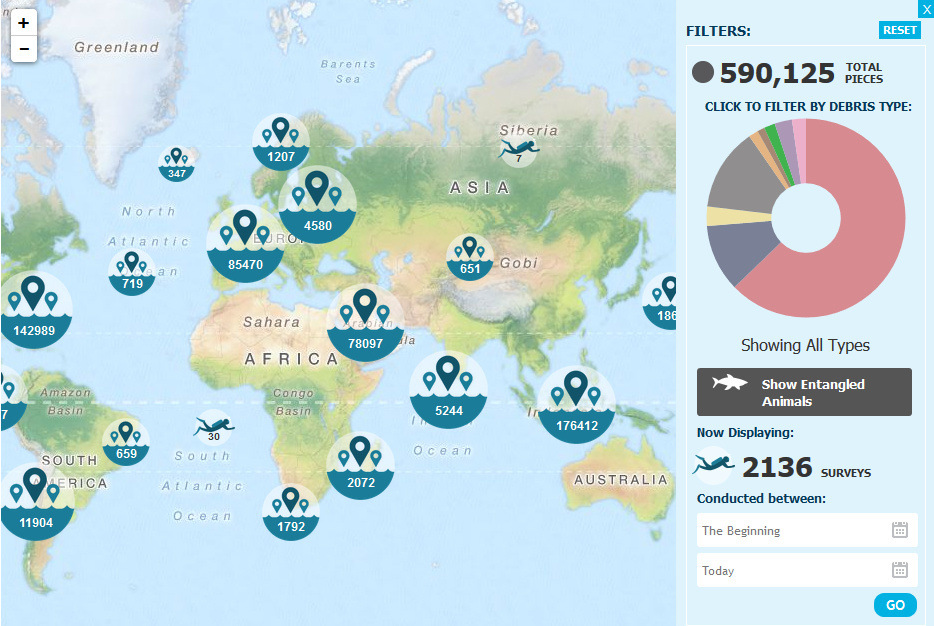 Dive Against Debris Interactive Map