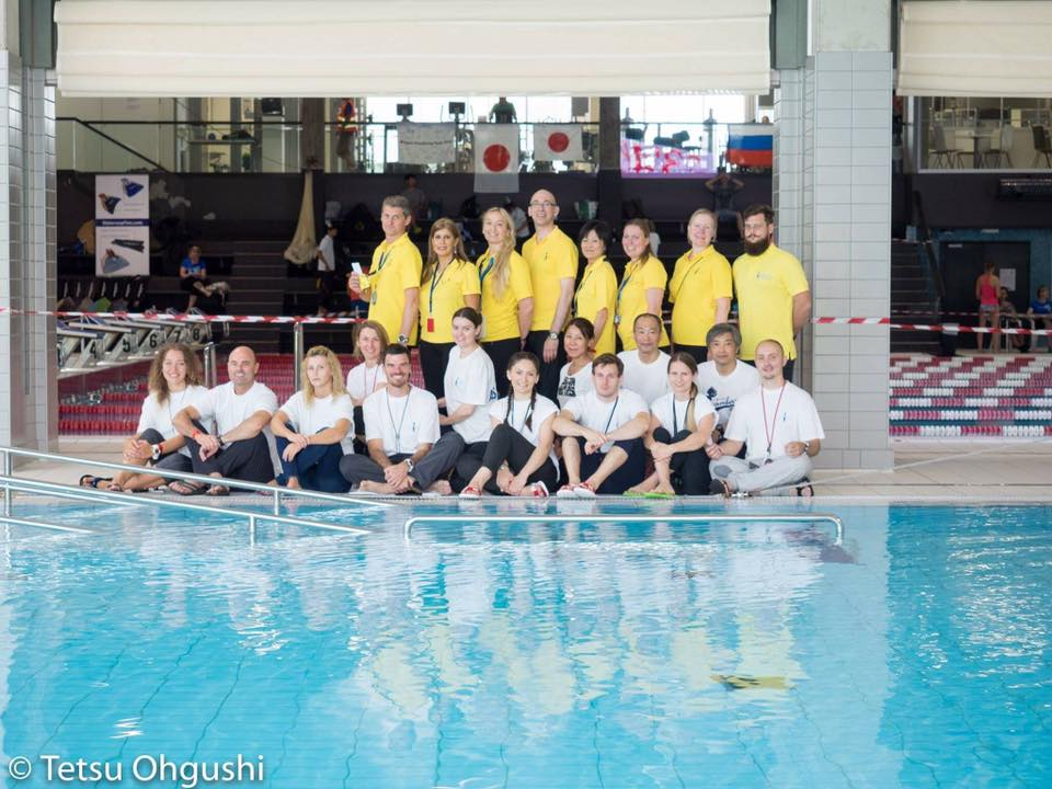 AIDA International Judges (yellow T-Shirts) and Assistant judges at the AIDA Individual Pool World Championships 2016 in Turku, Finland