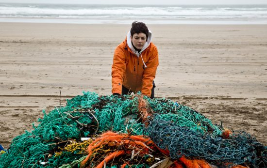 Ghost gear collected during a beach clean-up by GGGI participants World Animal Protection and Surfers Against Sewage on Perranporth beach, Cornwall, UK. © World Animal Protection/Greg Martin