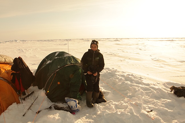 Miriam and her tent - Diving the North Pole