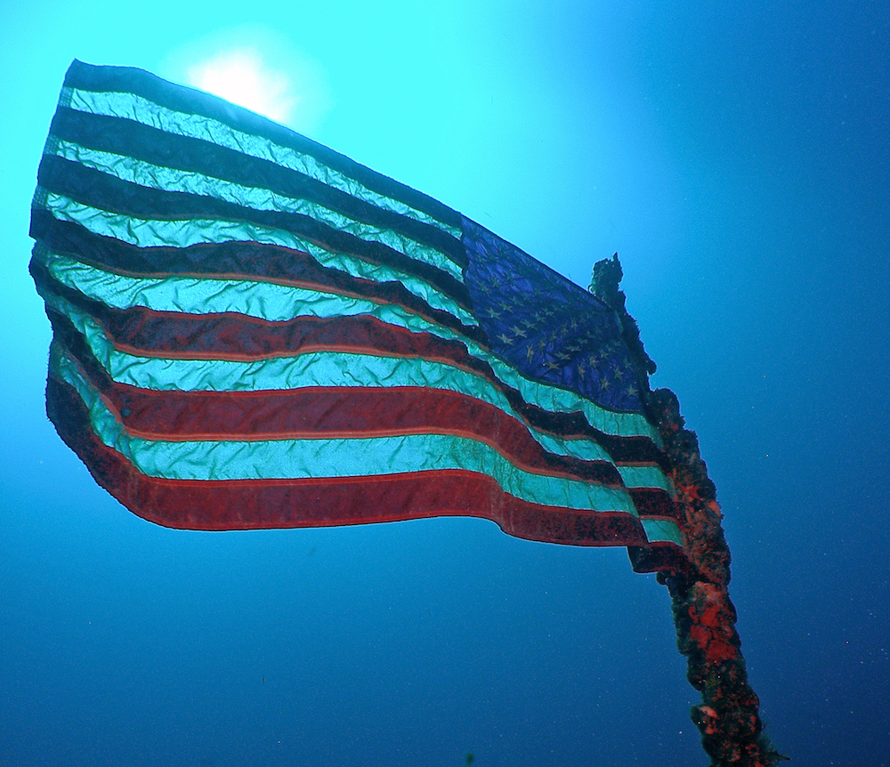 USA flag scuba diving