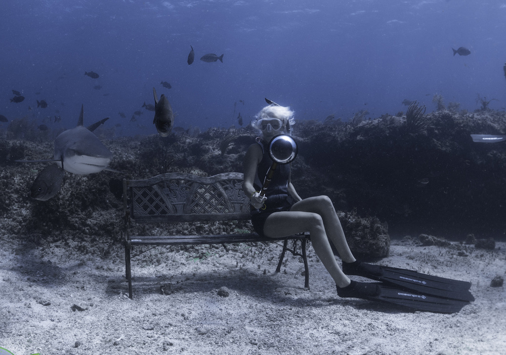 Jillian Morris freediving with Caribbean reef sharks Photo: Duncan Brake
