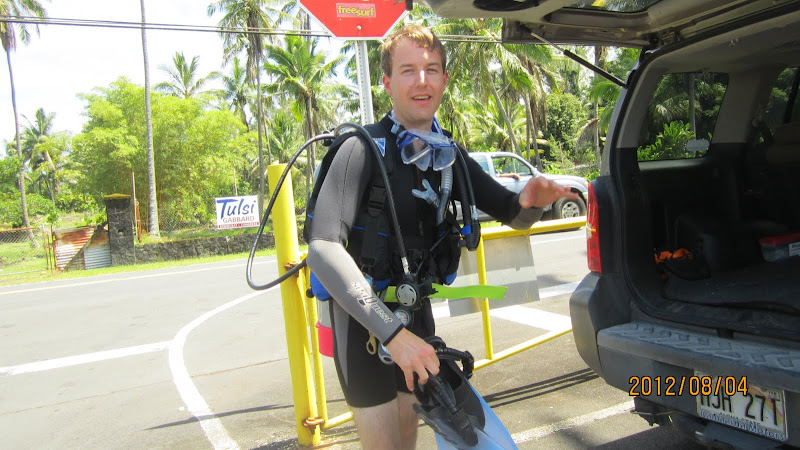 Suiting up for a dive at Leleiwi in Hilo, Hawaii