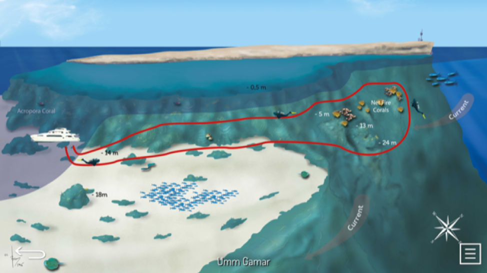 Sample dive map at Umm Gamar