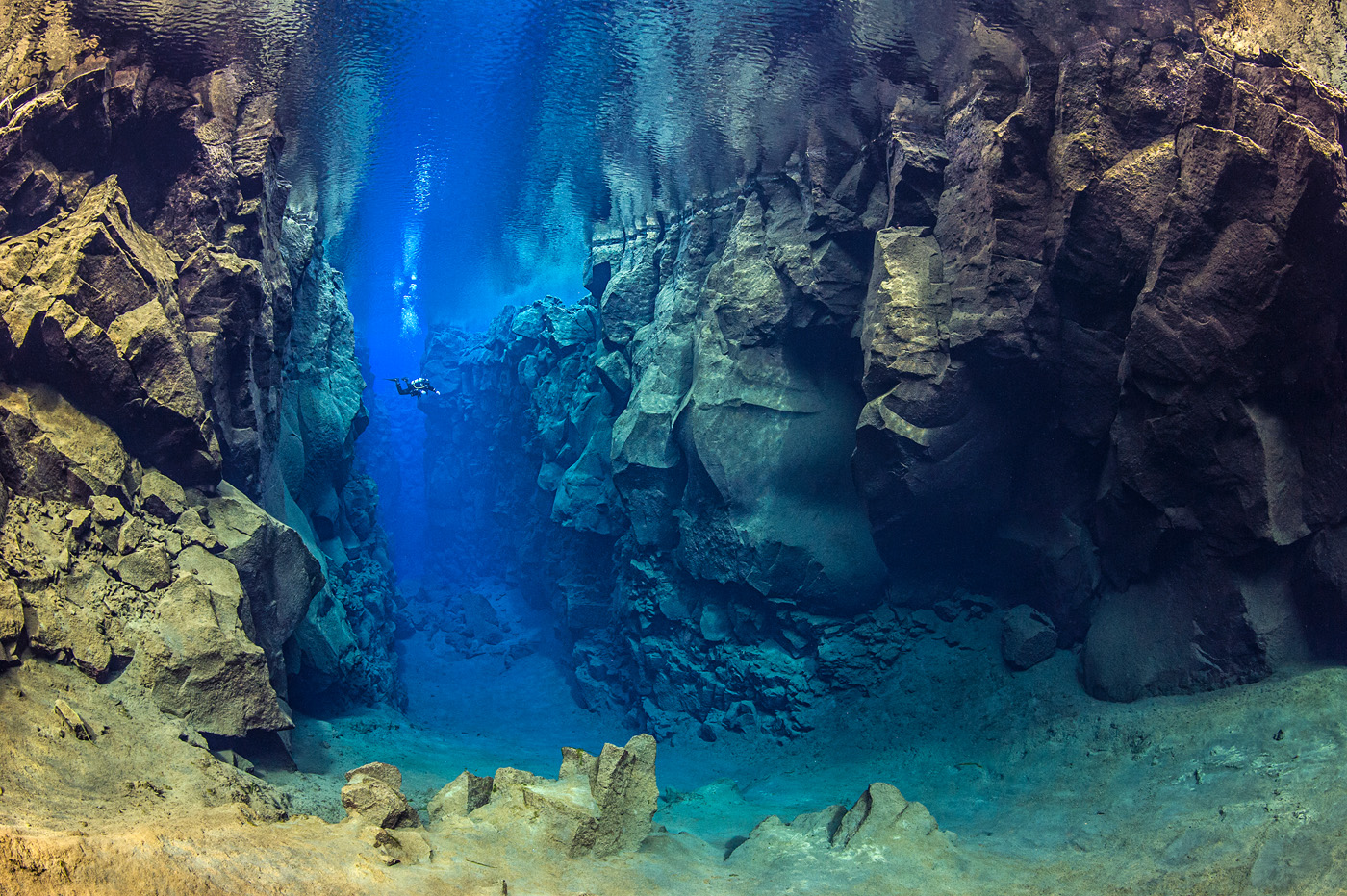Diving Between Continental Plates. Iceland