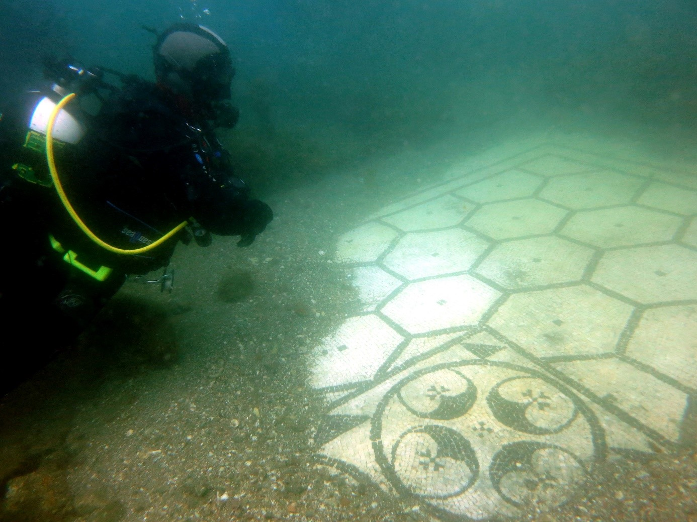 Mosaic floor in the Underwater Archaeological Park of Baia