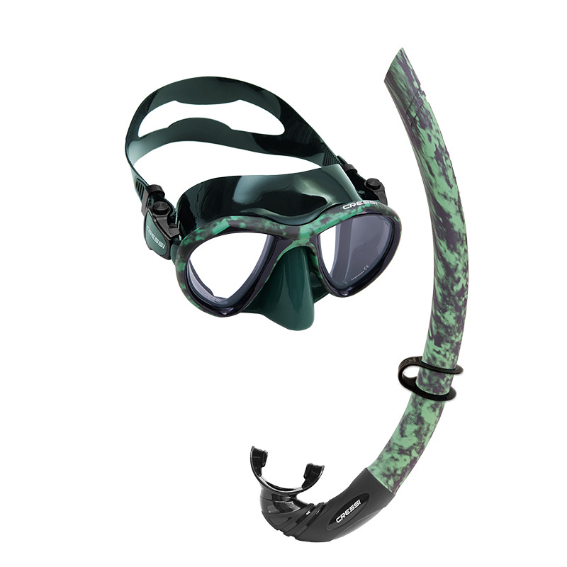 Green Black Mask and Snorkel- Camo