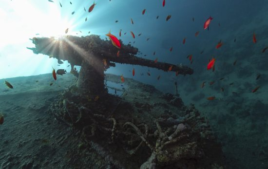 antiaircraft gun of ss thistlegorm in backlight